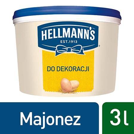 Hellmann's Majonez do dekoracji 3 l - Majonez Hellmann's gwarantuje stabilną dekorację.